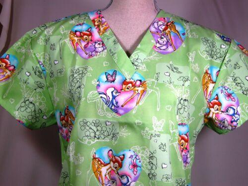NEW Medical Nursing Scrubs Top Cartoon Bambi & Thumper Green MEDIUM in Clothing, Shoes & Accessories, Uniforms & Work Clothing, Scrubs | eBay