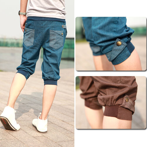 NEW Men's Casual Short Pants Fit Slim Style Cropped Trouser Pants Free shipping