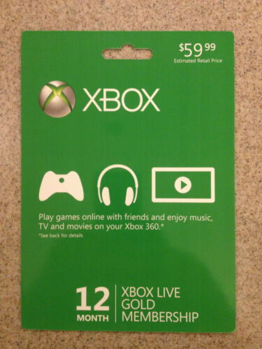 NEW Microsoft Xbox 360 Live 12-Month Gold Membership Subscription Card Free Ship in Video Games & Consoles, Prepaid Gaming Cards | eBay