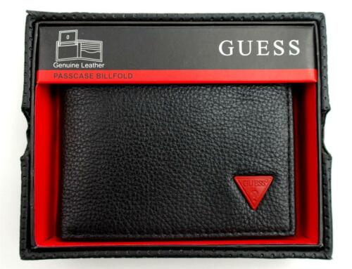 NEW NWT GUESS PREMIUM MEN'S LEATHER CREDIT CARD ID WALLET PASSCASE BIFOLD BLACK in Clothing, Shoes & Accessories, Men's Accessories, Wallets | eBay