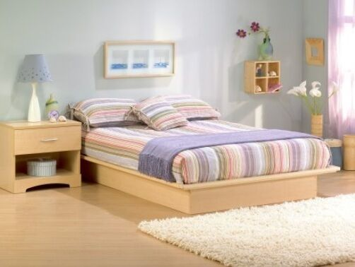 new natural full double size bed no box spring req wood platform frame wooden ebay. Black Bedroom Furniture Sets. Home Design Ideas