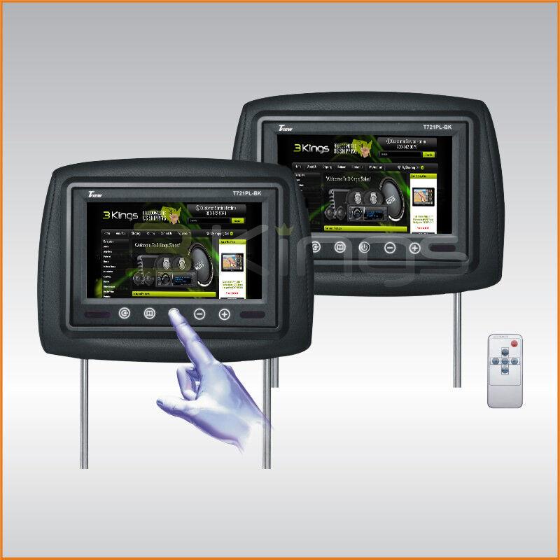 """New Pair TView T721PL 7"""" Black TFT LCD Car Headrest TV Monitors IR Universal Fit"""
