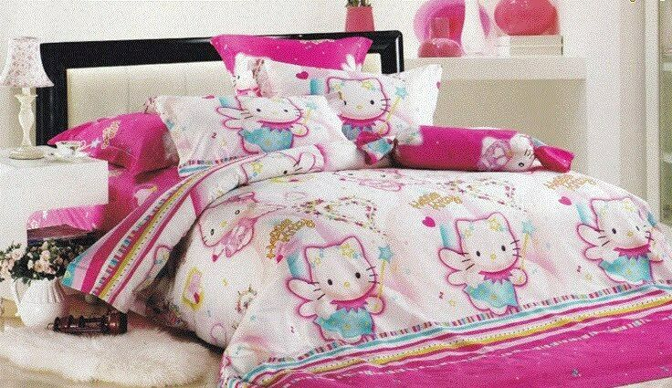 new pink hello kitty queen size bed set 4pc with inside filler kids