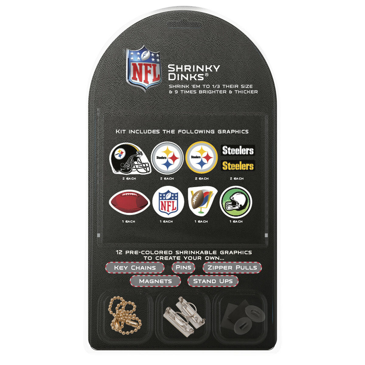 PITTSBURGH STEELERS SHRINKY DINKS KIT KEY CHAINS PINS MAGNETS ZIPPERS