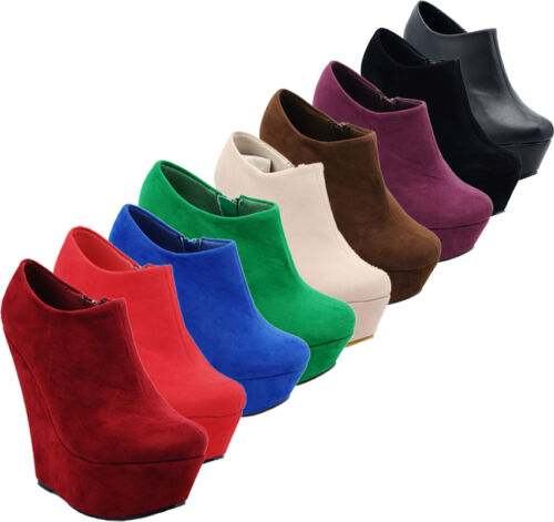 NEW PLATFORM HIGH HEEL WEDGE ANKLE SUEDE SHOE BOOTS SHOES SIZE 3-8 WEDGES HEELS in Clothing, Shoes & Accessories, Women's Shoes, Heels | eBay