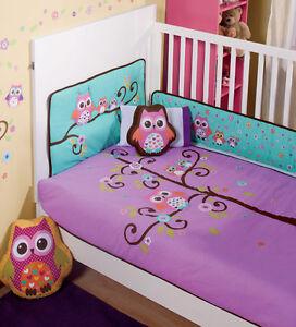 Purple Owl Crib Bedding Canada