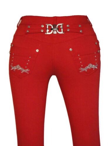 NEW RED LADIES WOMENS FASHION BUCKLE BLACK SKINNY JEANS JEGGINGS SIZES 8 – 16