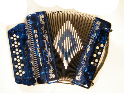 NEW ROSSETTI ACCORDION 34 BUTTON 3 SWITCH 12 BASS FBE BLUE ACORDEON AZUL FA in Musical Instruments & Gear, Accordion & Concertina | eBay