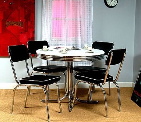 Retro Round Chrome Table And 4 Black Chairs 50 39 S Kitchen