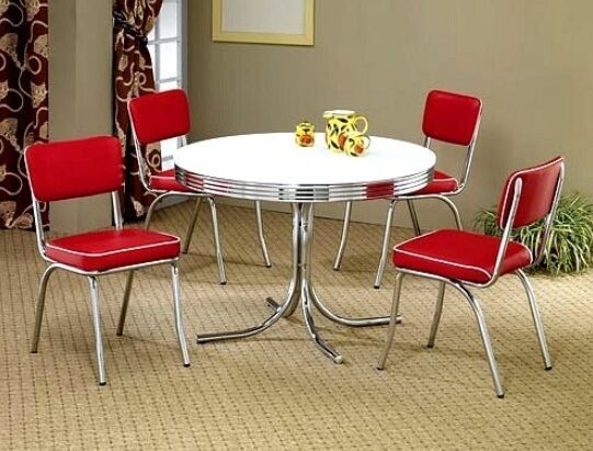 NEW 50 s Retro Round Chrome Table and 4 Red Chairs Kitchen
