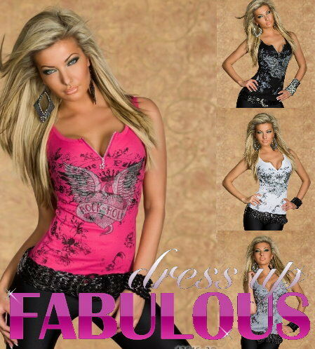 NEW SEXY WOMEN'S TOP SIZE 6 8 10 12 PARTY CASUAL SINGLET SHIRT TATTOO CLOTHING