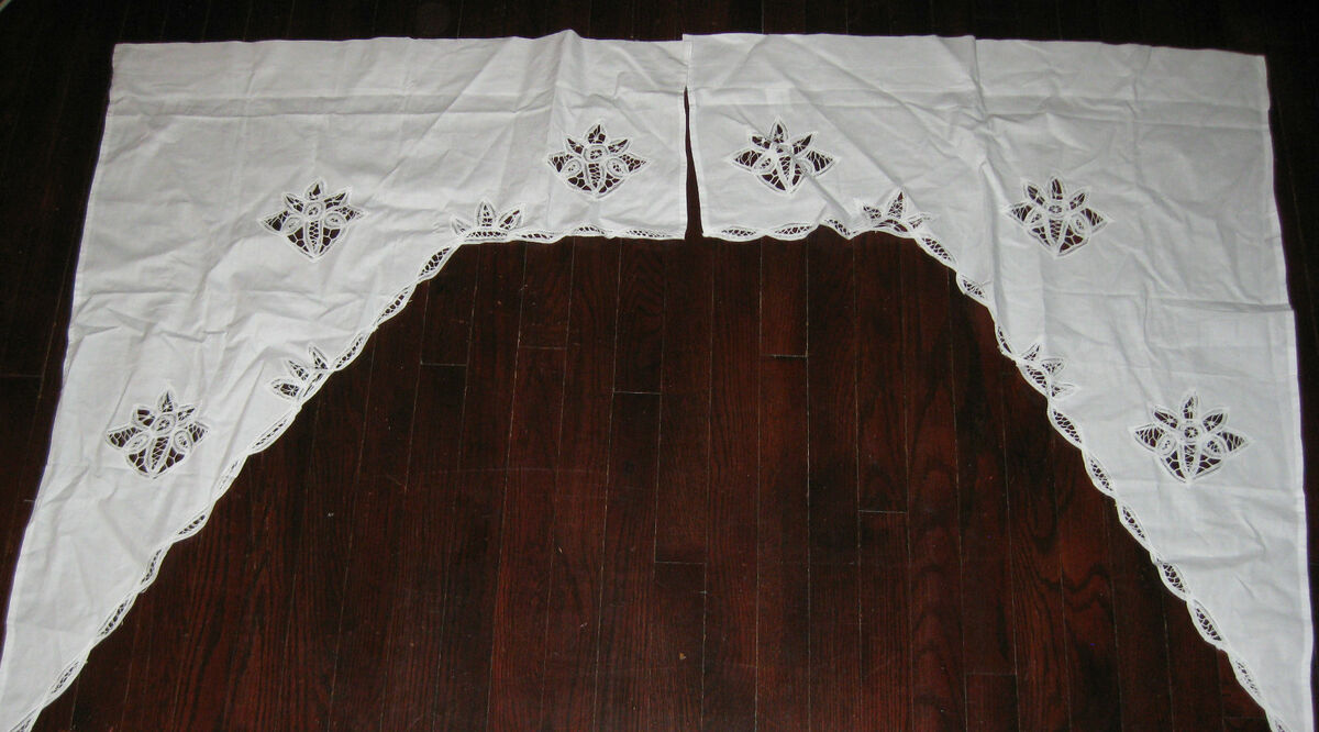battenburg lace cutwork white window curtain chic swag valance 60 x38