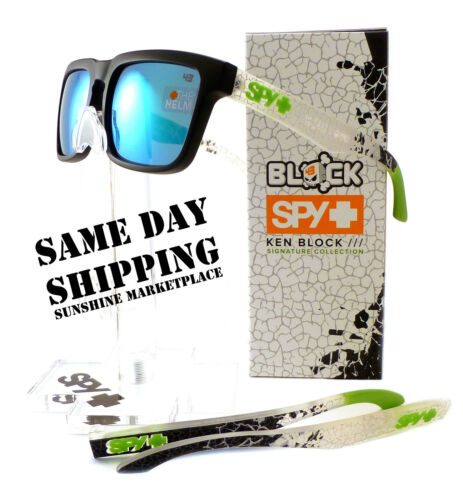 NEW Spy Helm Sunglasses-Livery Matte Black-Ken Block-Green Mirror Lens-Fast Ship in Clothing, Shoes & Accessories, Unisex Clothing, Shoes & Accs, Unisex Accessories | eBay