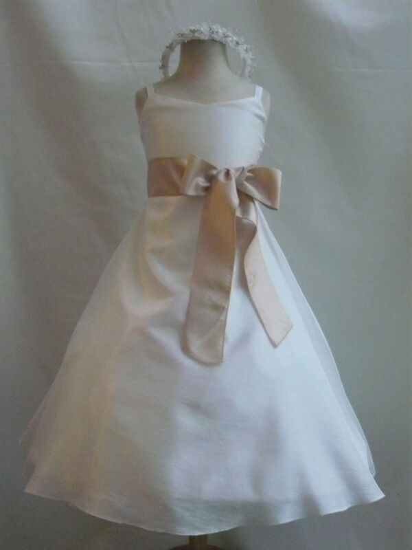 NEW WEDDING FLOWER GIRL DRESS IVORY CHAMPAGNE ALL SIZE eBay