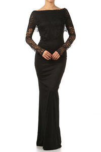 Long Black Maxi Dress on New Women Full Length Black Lace Layered Dress Long Sleeve Long Maxi S