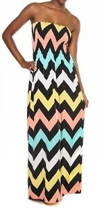 Strapless Maxi Dress on New Women Pastel Chevron Print Maxi Dress Strapless Smocked Long Zig