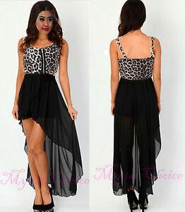 Leopard Print Maxi Dress on Animal Leopard Print Long Dip Drop Back Hem Chiffon Maxi Skirt Dress