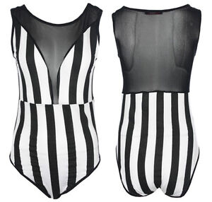 Black  White Striped Dress on New Womens Black And White Striped Mesh Panel Sleeveless Leotard