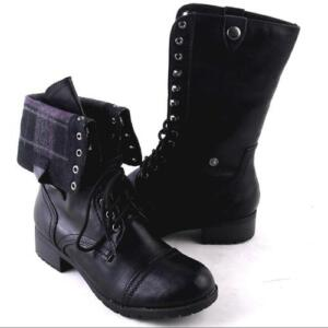 new womens black midcalf laceup or fold combat boots