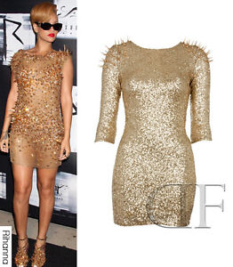 Sequin Bodycon Dress on Ladies Metallic Gold Sequin Spikey Mini Shift Bodycon Dress Size 8 14