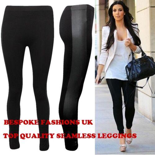 NEW WOMENS LADIES WET LOOK SIDE PANEL LONG BLACK LEGGINGS PANTS S/M & M/L