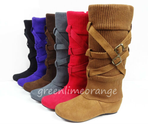 NEW WOMEN'S SUEDE MID-CALF COMFY FASHION BUCKLED WEDGE HEEL BOOTS in Clothing, Shoes & Accessories, Women's Shoes, Boots | eBay