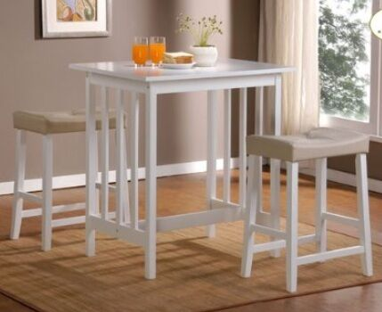 White 3pc Counter Height Wooden Kitchen Table Pub Bar And