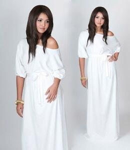 Shoulder Cocktail Dress on White One Shoulder Cocktail Evening Plus Size Long Dress Xl 2x   Ebay