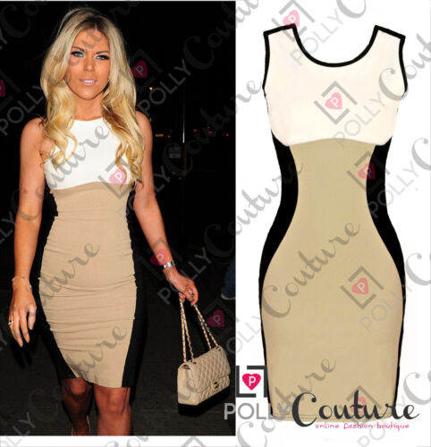NEW Women's Optical Illusion Contrast Bodycon Slimming Fitted Black Celeb Dress