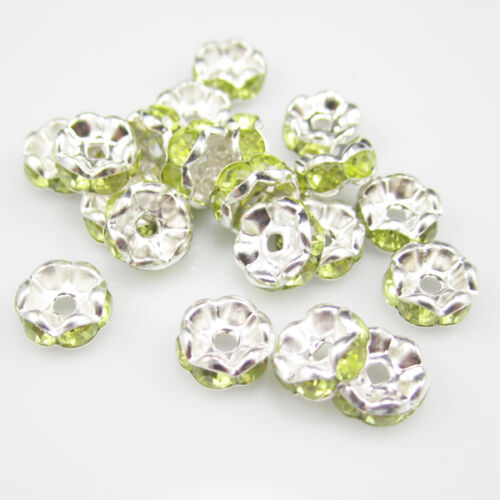 NEW for jewelry 20pcs 8MM Plated silver crystal spacer beads Olive green in Crafts, Beads & Jewelry Making, Jewelry Findings | eBay