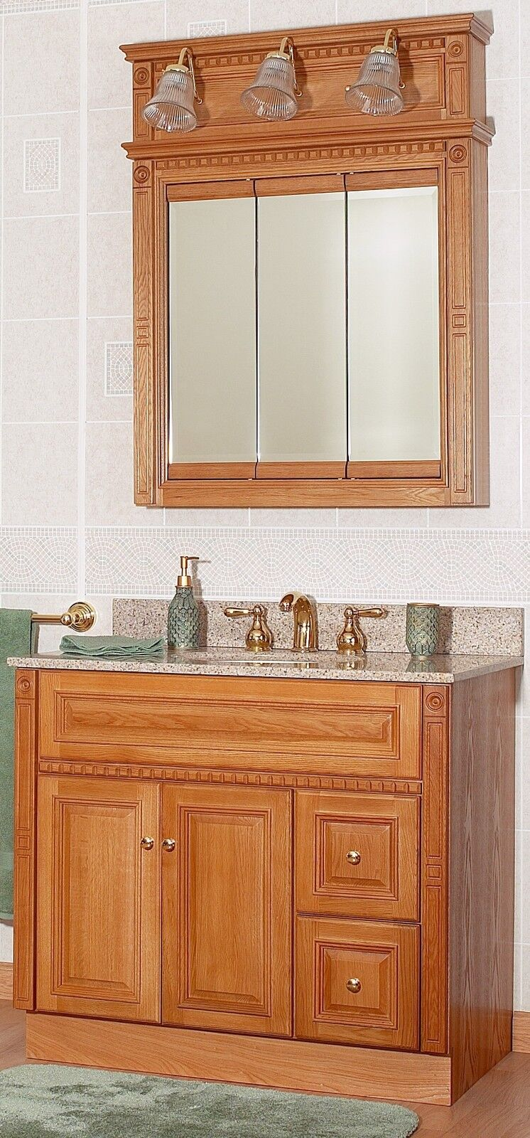 newport oak 36 bathroom vanity rh drawers w medicine cabinet mirror 3
