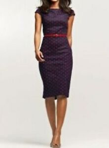 Navy Polka  Dress on Next Premium Tailored Navy Polka Dot Pencil Dress Office Wear Party