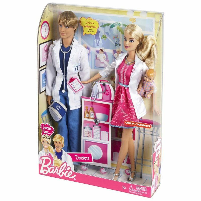 Nib Barbie I Can Be A Doctor Working Together 2 Doll Set