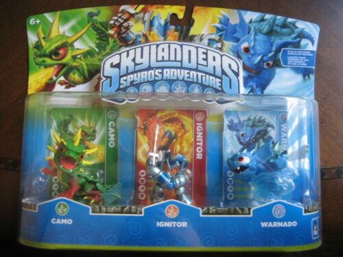 NIB! Skylanders Spyro's Adventure Camo, Ignitor, & Warnado Triple Pack, Retired! in Toys & Hobbies, Action Figures, TV, Movie & Video Games | eBay