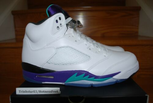 NIKE AIR JORDAN 5 RETRO White/Grape 136027 108 New Men's **IN STOCK NOW!** in Clothing, Shoes & Accessories, Men's Shoes, Athletic | eBay