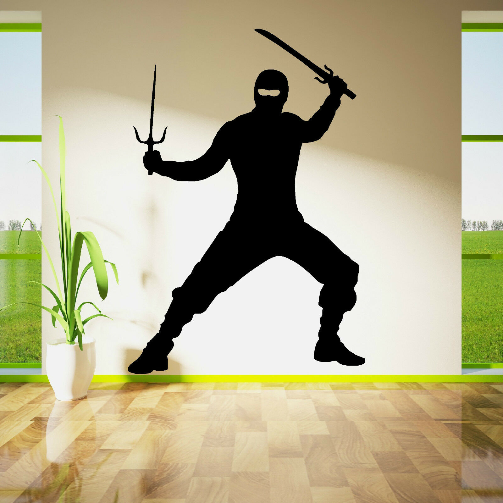 Ninja Fighter With Swords Vinyl Wall Art Decal Sticker Ebay