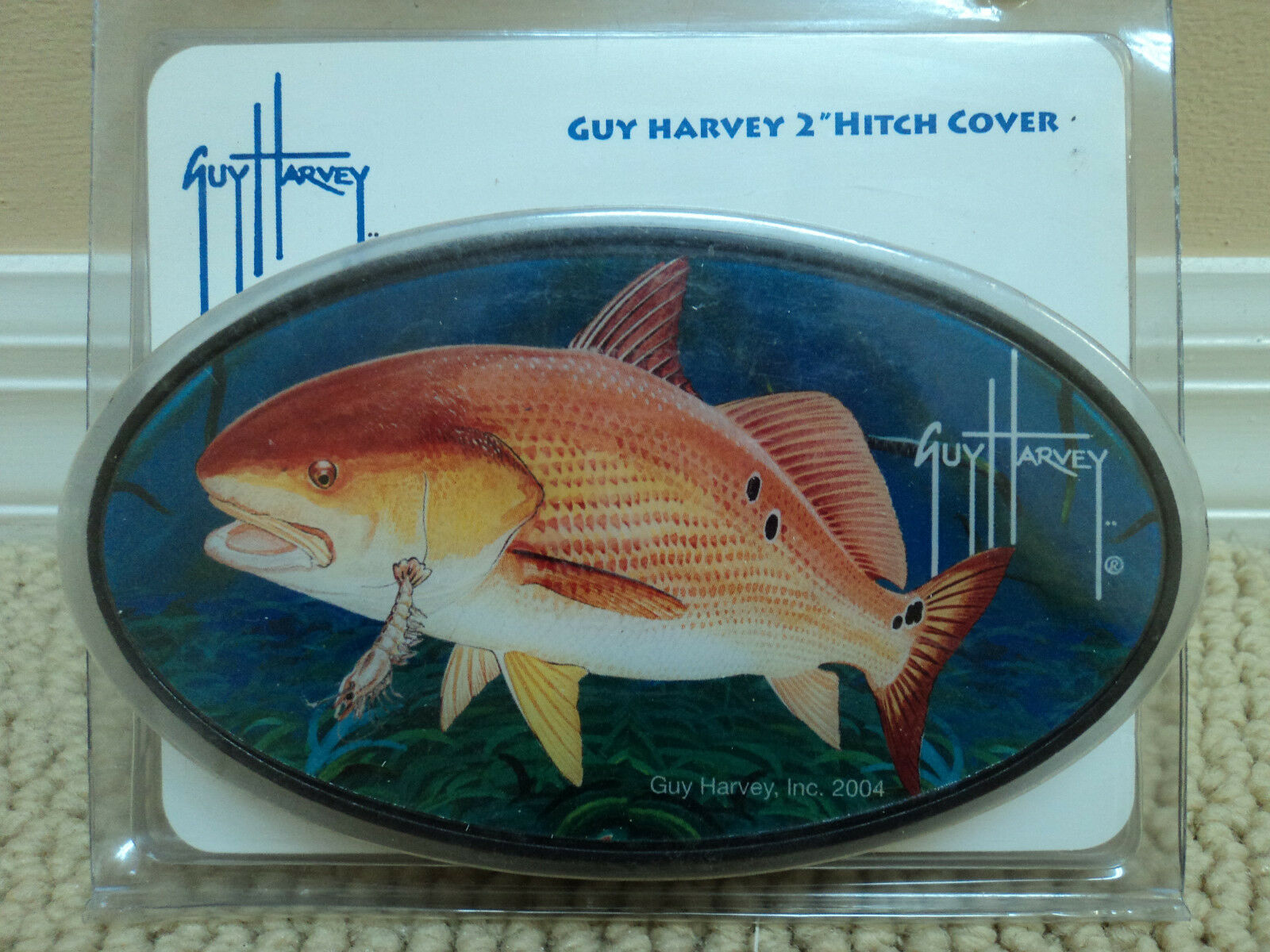 Nip guy harvey red fish shrimp trailer hitch cover gift for Fish hitch cover