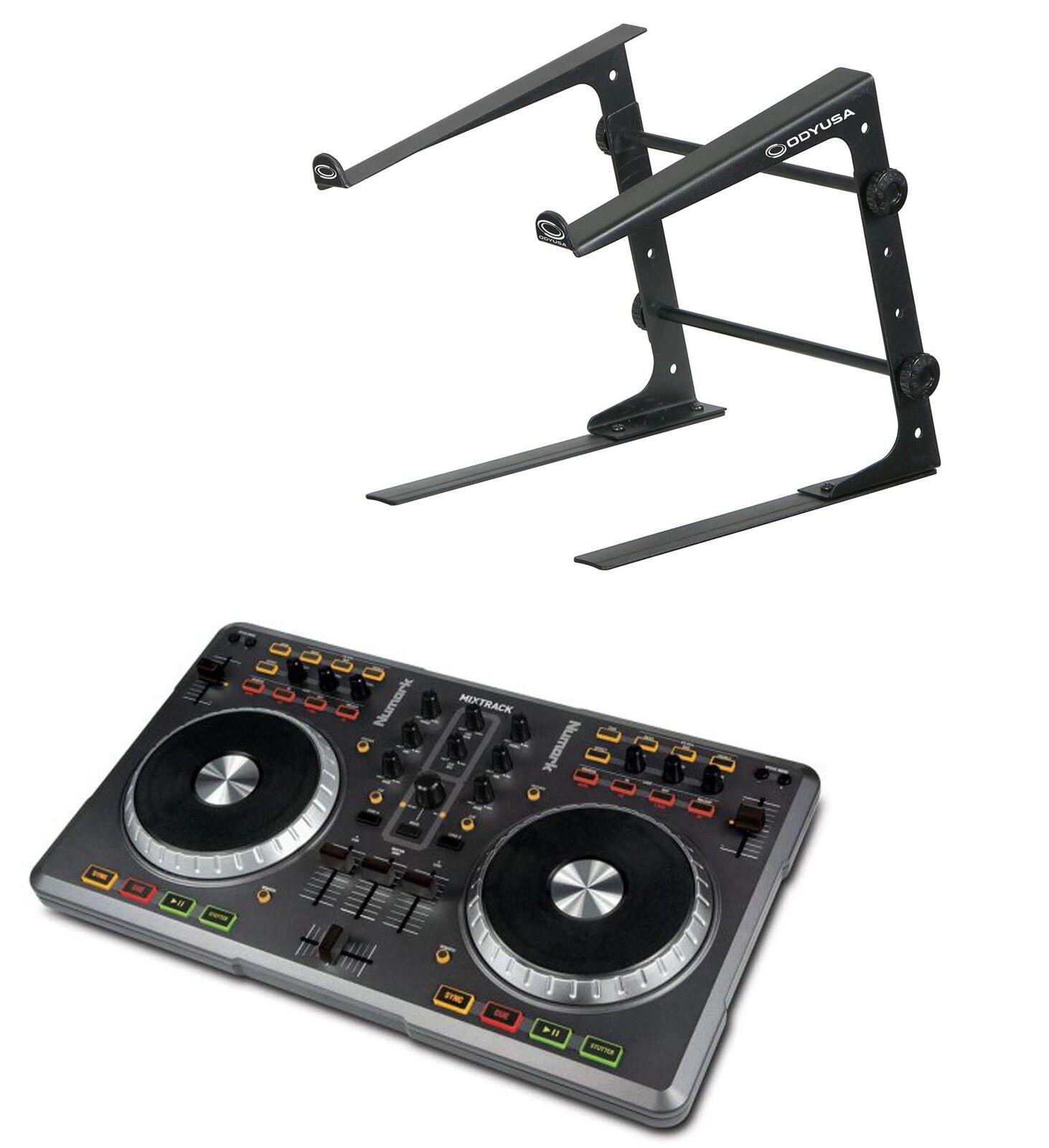 NUMARK MIXTRACK DJ MIDI Virtual DJ Software Controller + ODYSSEY Pro DJ Stand