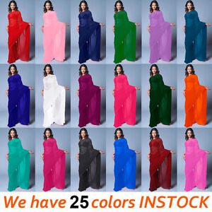 NW-Bollywood-Wedding-Chiffon-Plain-Party-Wear-Saree-Sari-BellyDance-25-Color-TOP