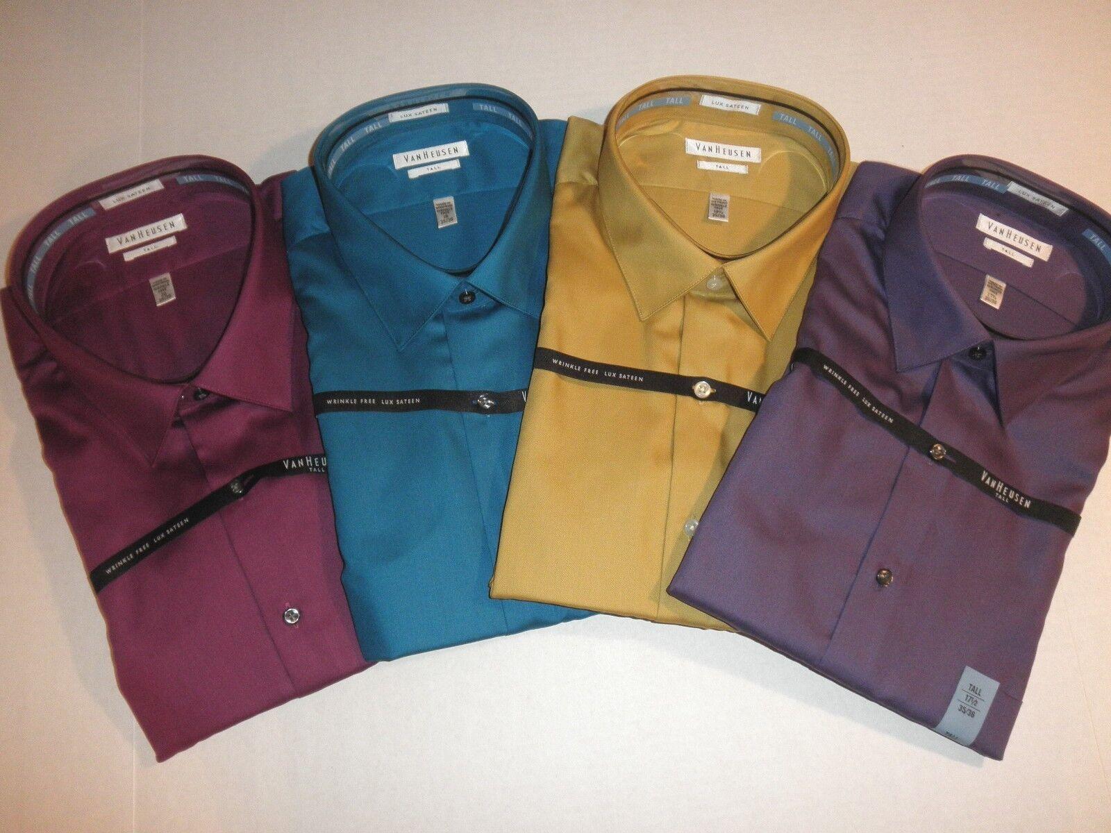 Nwt 50 mens van heusen big tall lux sateen dress shirts for Big and tall purple dress shirts