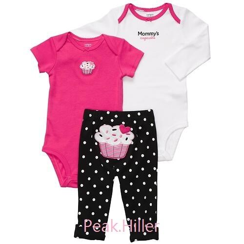 NWT Carter's 3 Piece Set 2 bodysuits and pants set New with tags NB-12M in Clothing, Shoes & Accessories, Baby & Toddler Clothing, Girls' Clothing (Newborn-5T) | eBay