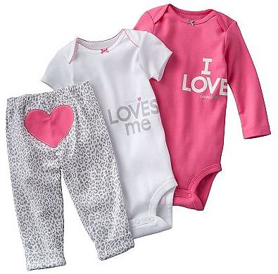 NWT Carters Baby Girl Clothes 3 Piece Set Pink Heart 3 6 9