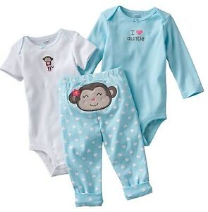 Carters Baby Girl Clothes Set Outfit White Blue Monkey 3 6 ...