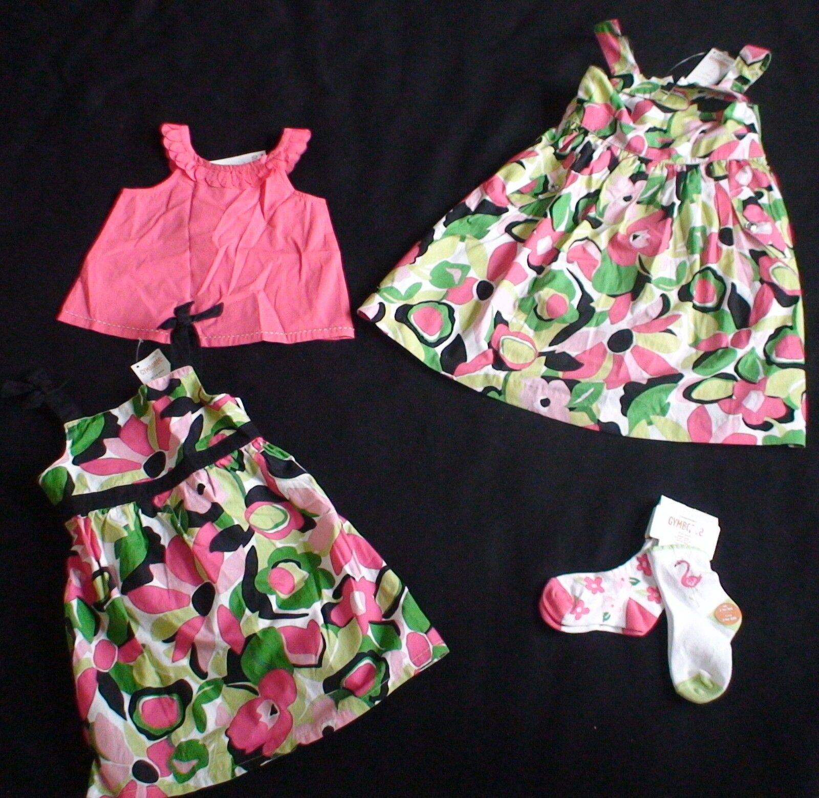 NWT GYMBOREE PALM BEACH PARADISE PINK TANK TOP FLORAL DRESS 2 PCK