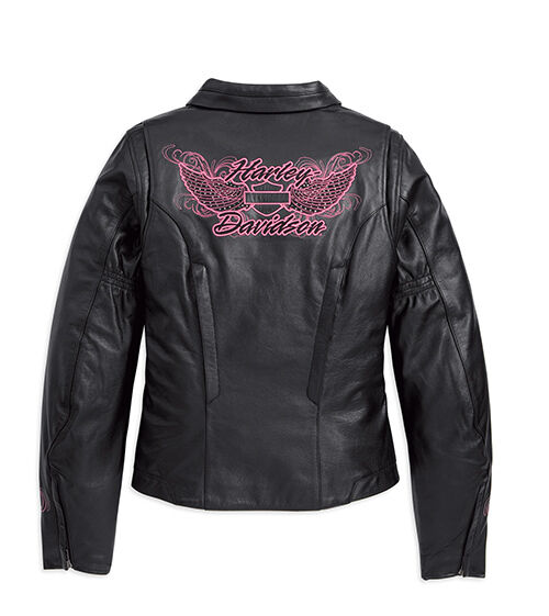 Harley Davidson Ladies Blissful Black Pink Leather Jacket 97068 11VW XXL 2X