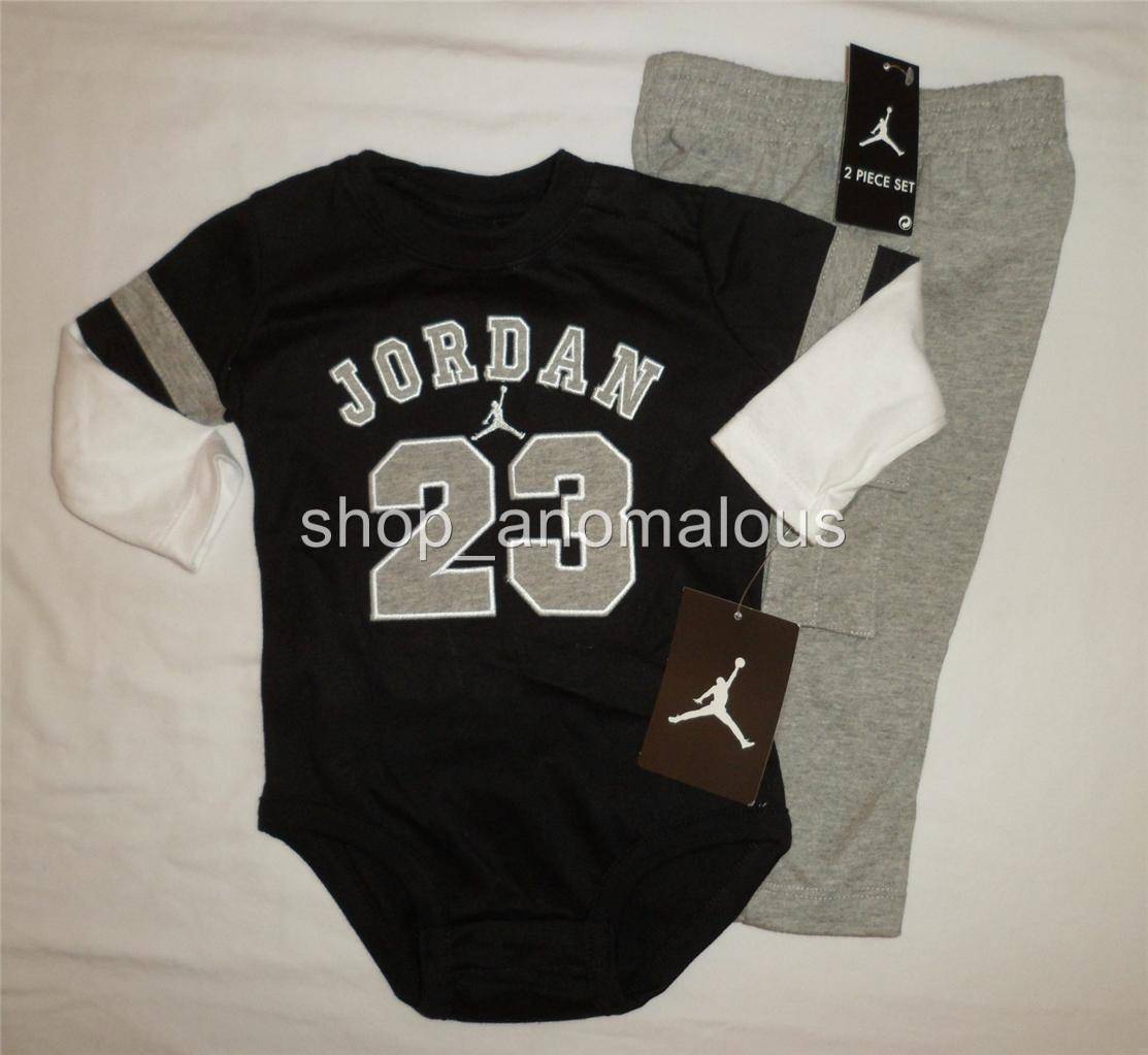 Nike Air Jordan Baby Boy Bodysuit Romper Pants Outfit Set Clothes Sz 6 9M