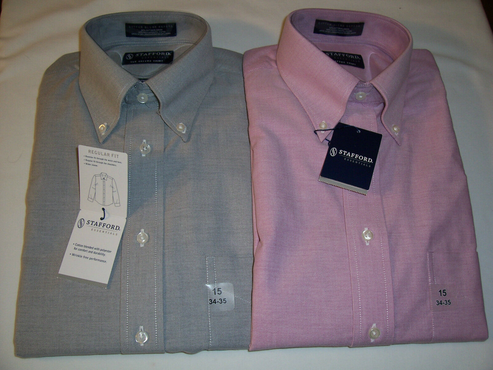 Nwt stafford essentials oxford dress shirt regular fit for Stafford dress shirts fitted