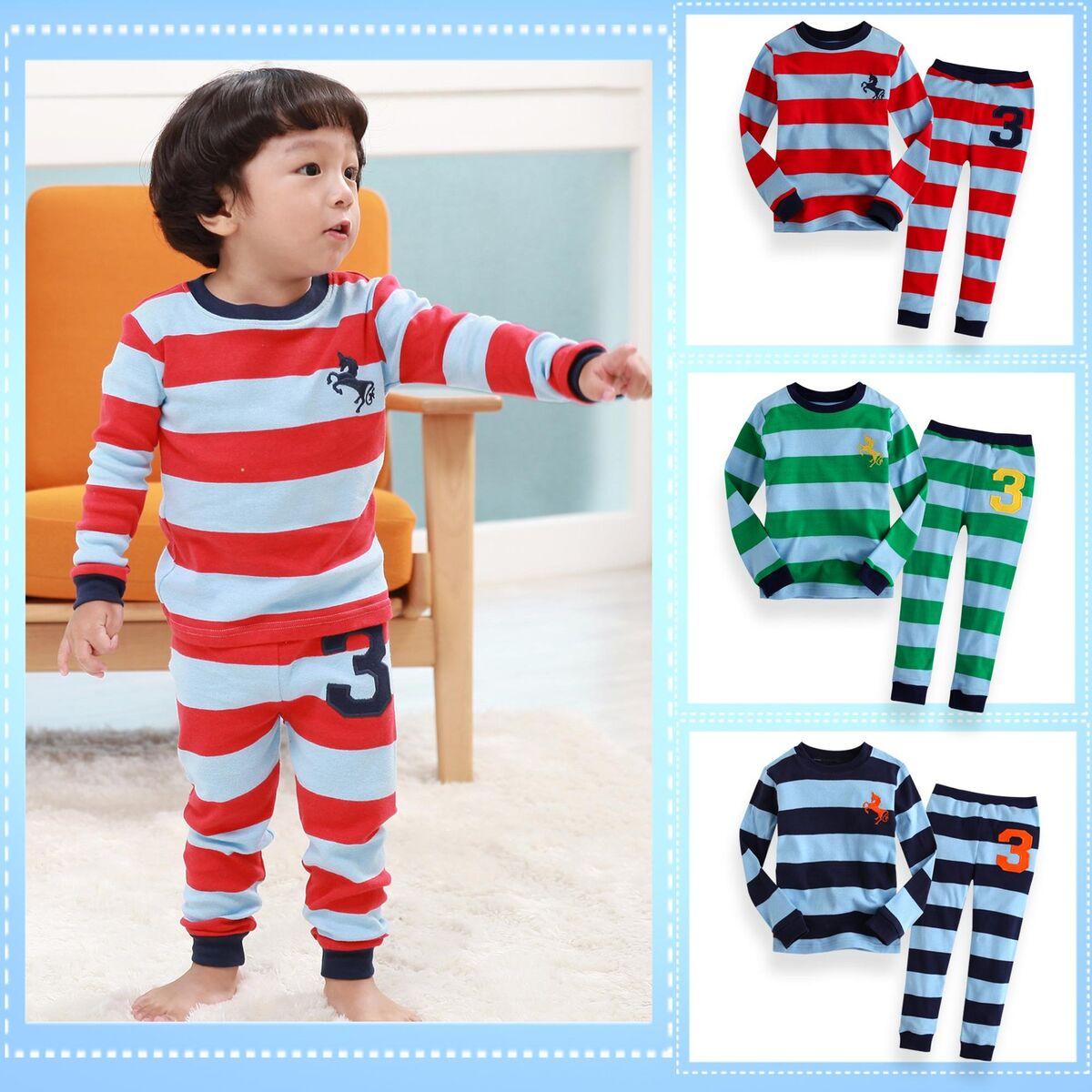 "Vaenait Toddler Kid Girl Boy Long Sleepwear Pyjama Set "" Stripe No 3 """