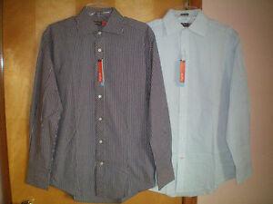 Size s Navy Blue Light Blue White Striped Nyne L s Coolmax Dress Shirt ...