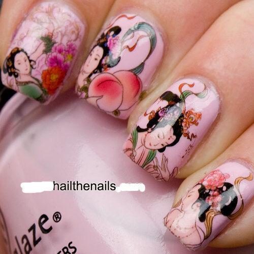 Nail WRAPS Nail Art Water Transfers Decals - Geisha Girls